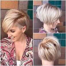 kurzhaarfrisuren asymmetrisch blond s asymmetric side swept bob with undercut and soft