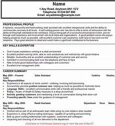 Examples Of Retail Cv Cv For Retail Sales Assistant Planner Template Free