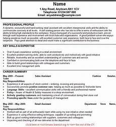 Shop Assistant Cv Template Cv For Retail Sales Assistant Planner Template Free
