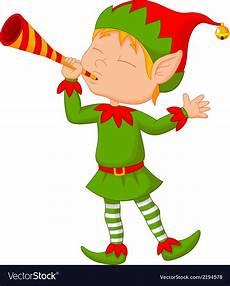 Design An Elf Google Elf Cartoon With Trumpet Royalty Free Vector Image