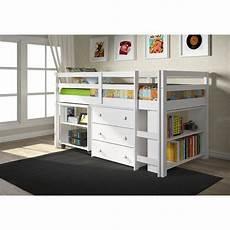 shop donco low study loft desk bed with chest