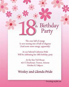 Birthday Invitation Letter 18th Birthday Party Invitation Wording Wordings And Messages