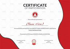 Free Certificates Of Participation Yoga Participation Certificate Design Template In Psd Word