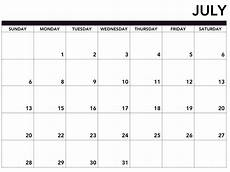 Monthly Calendar Printable Free Free Printable July Calendar For 2019 Template Magic