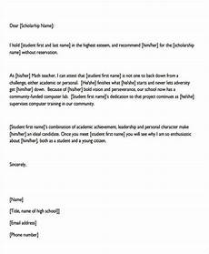 Sample Letter Of Recommendation For Scholarship Free 9 Scholarship Recommendation Letter Samples