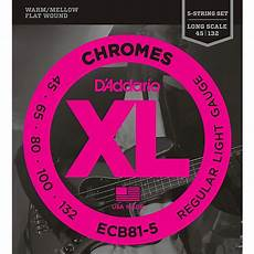 Light Gauge Flatwound Guitar Strings D Addario Ecb81 5 Chromes Xl Flatwound Bass Strings