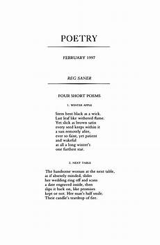 A Short Poetry Four Short Poems By Reg Saner Poetry Magazine