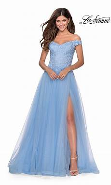 La Femme Light Blue Dress La Femme 28598 Prom Flowy Yellow Dress High Slit Off