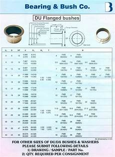 Flange Bearing Size Chart Du Flanged Bushes Du Flanged Bush Bearing Flanged Bronze