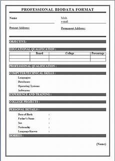 Professional Biodata Format Free Download Biodata Format For Job Application Download Sample