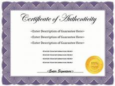 Authentication Certificate Format 7 Free Sample Authenticity Certificate Templates