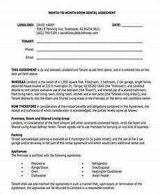 Room Rental Agreement Month To Month Free 6 Room For Rent Contract Samples Amp Templates In Pdf