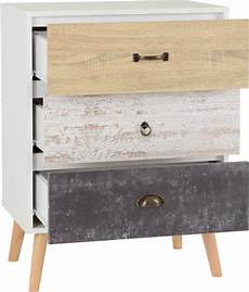 nordic 3 drawer chest white distressed effect