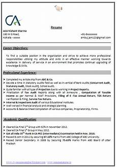 Sample Curriculum Vitae For Accountants Indian Chartered Accountant Resume Sample Accountant