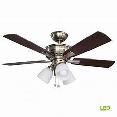 Ceiling Fan Light Hampton Bay Vaurgas 44 In Led Indoor Brushed Nickel