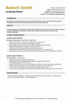 Resume For Landscaping Landscape Worker Resume Samples Qwikresume