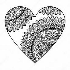 Ausmalbilder Erwachsene Herz Cuore Con Il Reticolo Della Mandala Vettoriali Stock