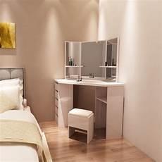 white corner dressing table 3 vanity mirror set dresser