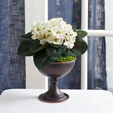 African Violet Lighting Artificial 11 African Violet Artificial Plant In Metal Chalice