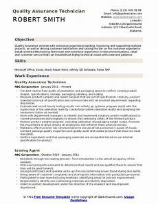 Quality Control Technician Resumes Quality Assurance Technician Resume Samples Qwikresume