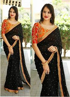 Black Georgette Designer Saree Buy New Arrival Black Color Georgette Designer Saree Online