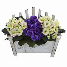 African Violet Lighting Artificial African Violet Artificial Plant Wooden Bench Planter