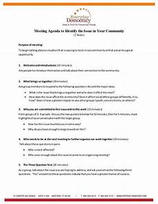 Community Meeting Agenda Meeting Agenda To Identify The Issue In Your Community