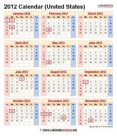 Us Calendars 2012 Calendar With Federal Holidays