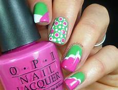 Light Pink And Green Nails Pink And Green Nail Art Danielle R S Totallynailed