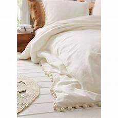 flber white pom fringe duvet cover 80inx86in