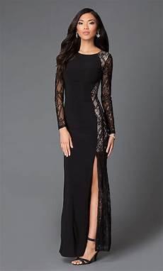 black sleeve floor length lace dress promgirl