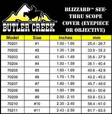 Butler Creek Caps Chart Butler Creek Blizzard See Thru Scope Cover Size 7 1 80