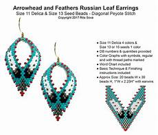arrowhead and feathers russian leaf earrings bead patterns