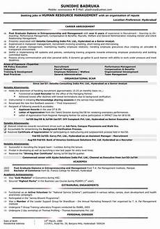 Resume Sample Hr Resume Of Iim Ahmedabad Students