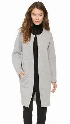 womens collarless coats t by wang oversized collarless coat grey