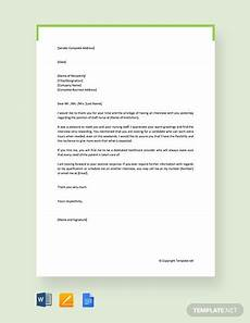 Thank You Letter After Nursing Interview Free Thank You Letter After Interview Template Word