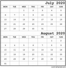 Two Month Calendar 2020 Two Month Calendar July August 2020 Printable Template