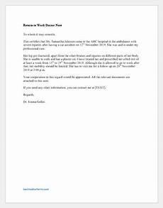 Sample Return To Work Note From Doctor Return To Work Doctor S Note Sample Printable Medical