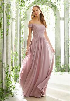 patterned sequins on mesh bridesmaid dress style 20486