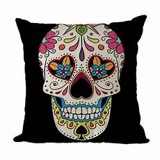 sugar skull pillow cover black with flower