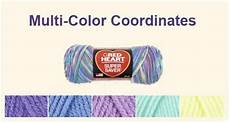 Red Heart Variegated Yarn Color Chart Mix Amp Match With The Coordinates List Yarn Color