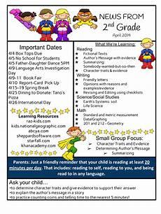 Newsletter Examples For Schools Second Grade April Newsletter Newton Bateman Elementary