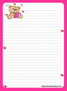 Letter Writing Paper Template Teddy Bear Writing Paper For Kids Free Printable