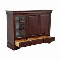 90 wood media center with curio and storage cabinet
