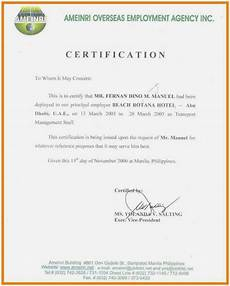 Social Service Certificate Format Sample Certificate Of Employment Hotel Letter Of