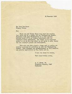 Letters Of Thank You Benjamin O Davis Thanksgiving Thank You Letter 1956