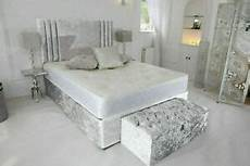 new silver crushed velvet divan bed with mattress