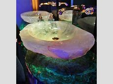 Moonstone sinks   Malachite countertops! What a dreamy combo    by   Decor, Crystals, House styles