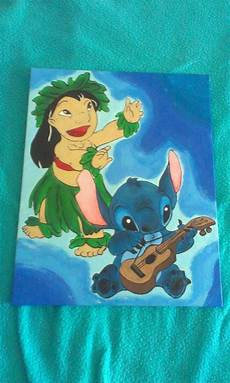 disney inspired lilo and stitch painted canvas