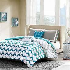 modern sporty blue teal aqua grey chevron stripe comforter